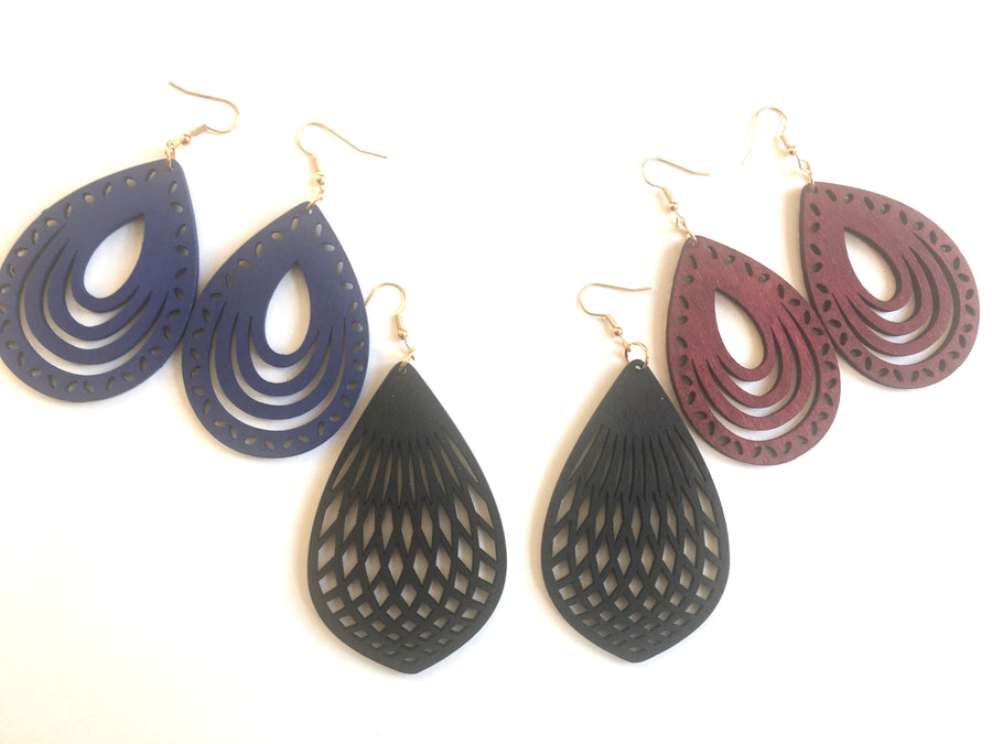 Black contemporary wooden dangle earrings