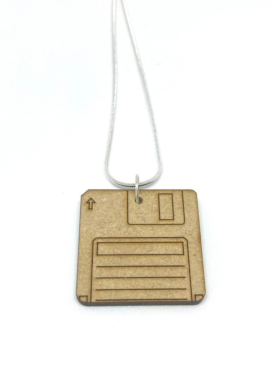 Wood floppy disc necklace