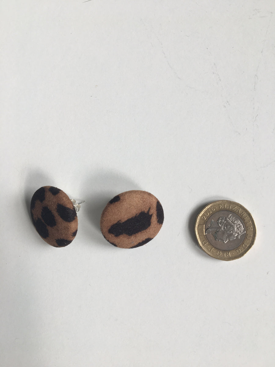 Large brown animal print studs