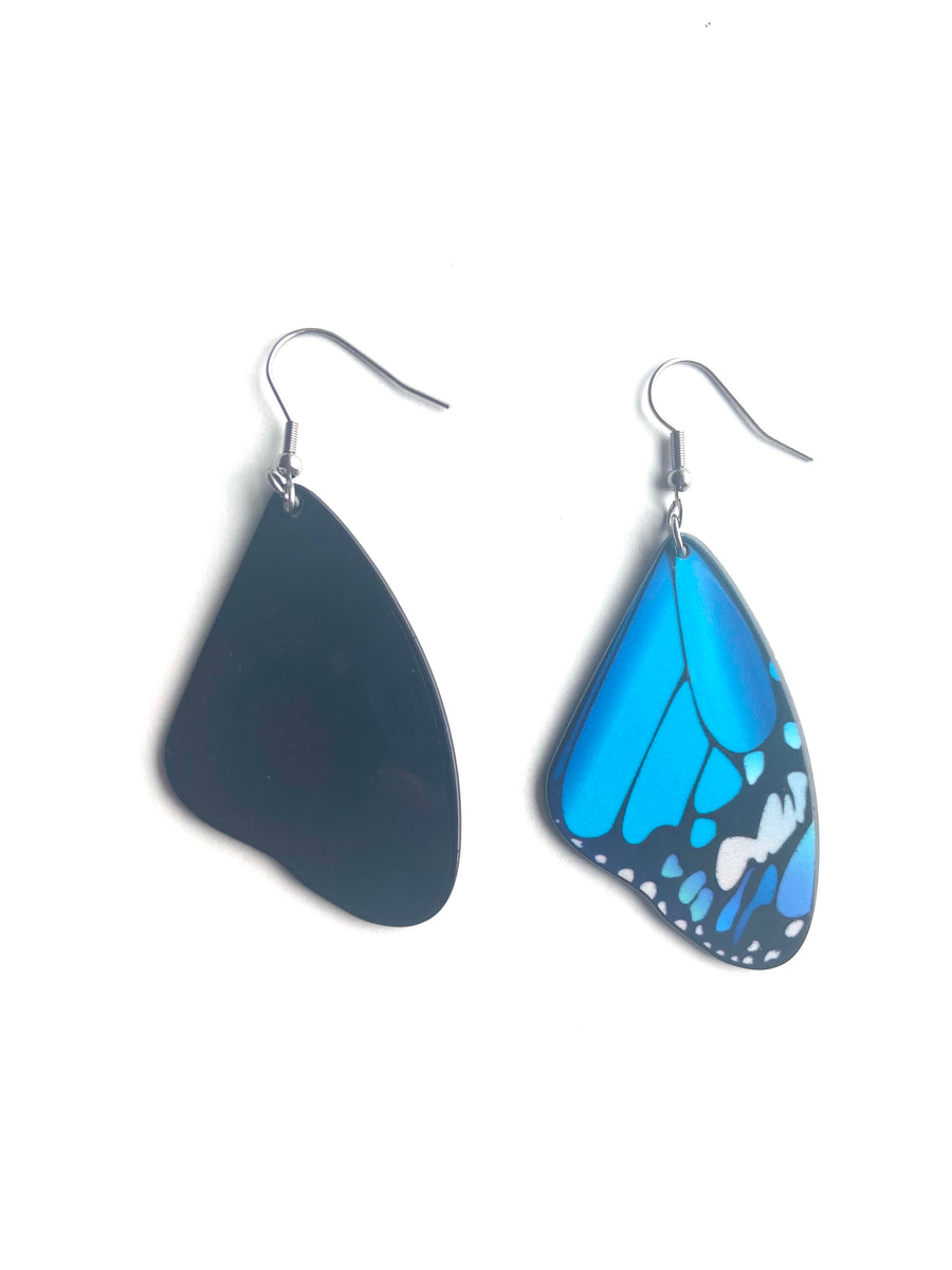 Blue medium butterfly earrings