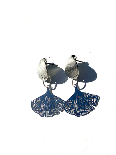 Ginkgo bohemian intricate leaf stud dangle - silver