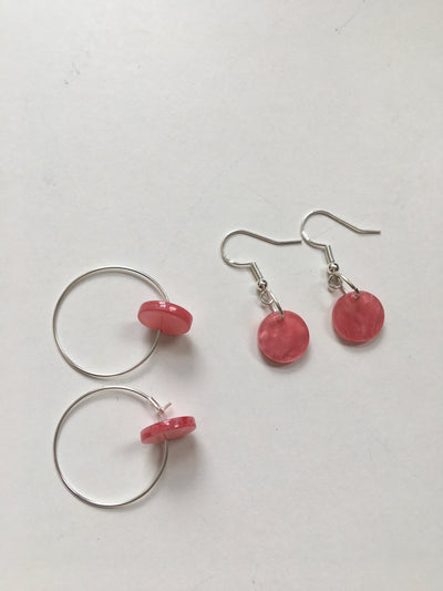 Pink charm earrings
