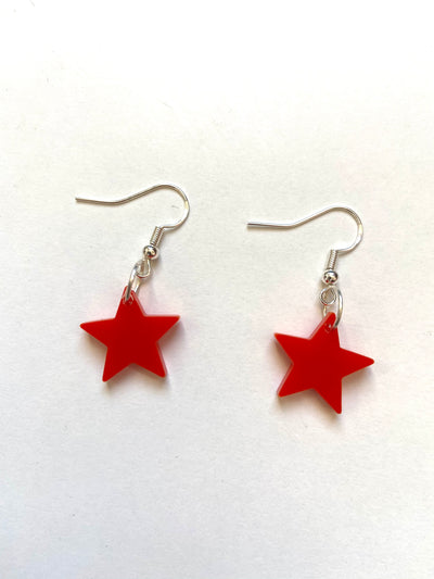 Red solid star acrylic earrings