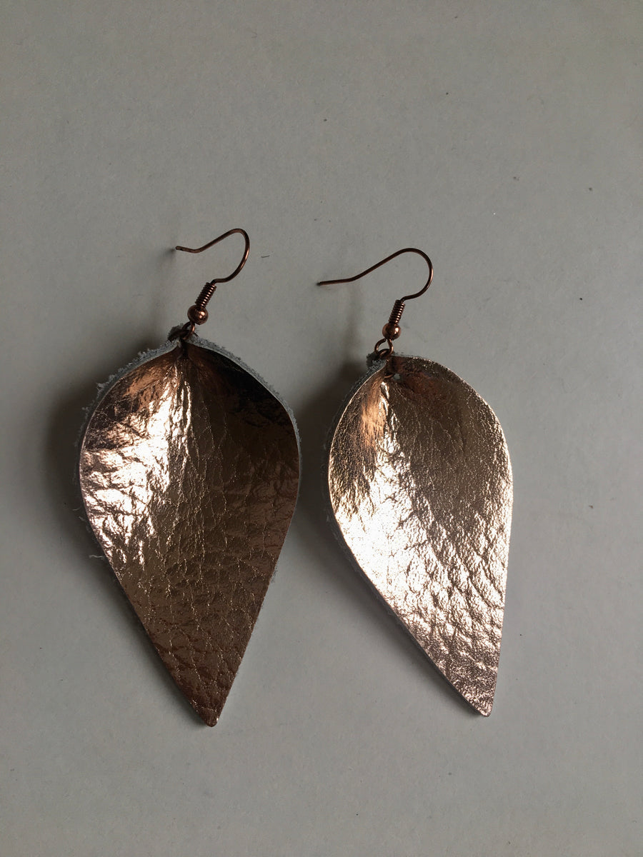 Bronze colour petal shaped earrings
