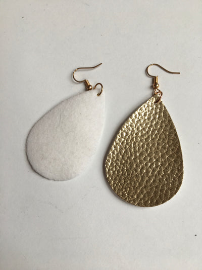 Gold tear shaped earrings