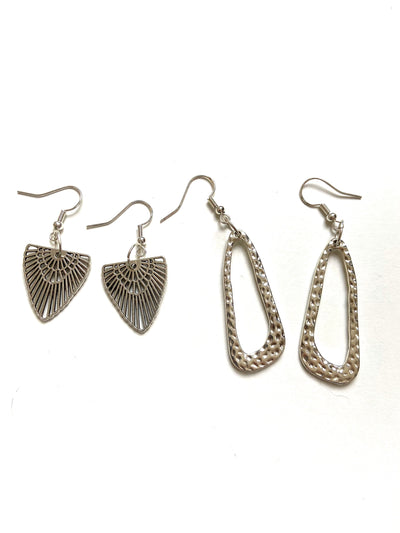 Silver textured loop earrings