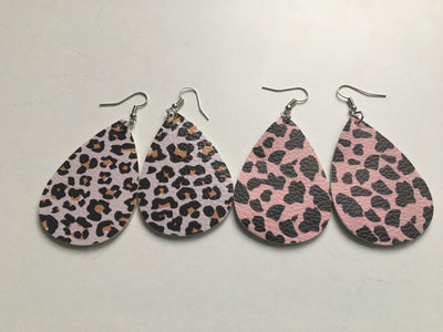Pink animal print tear shaped earrings