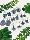 Monstera solid bohemian leaf dangle - silver