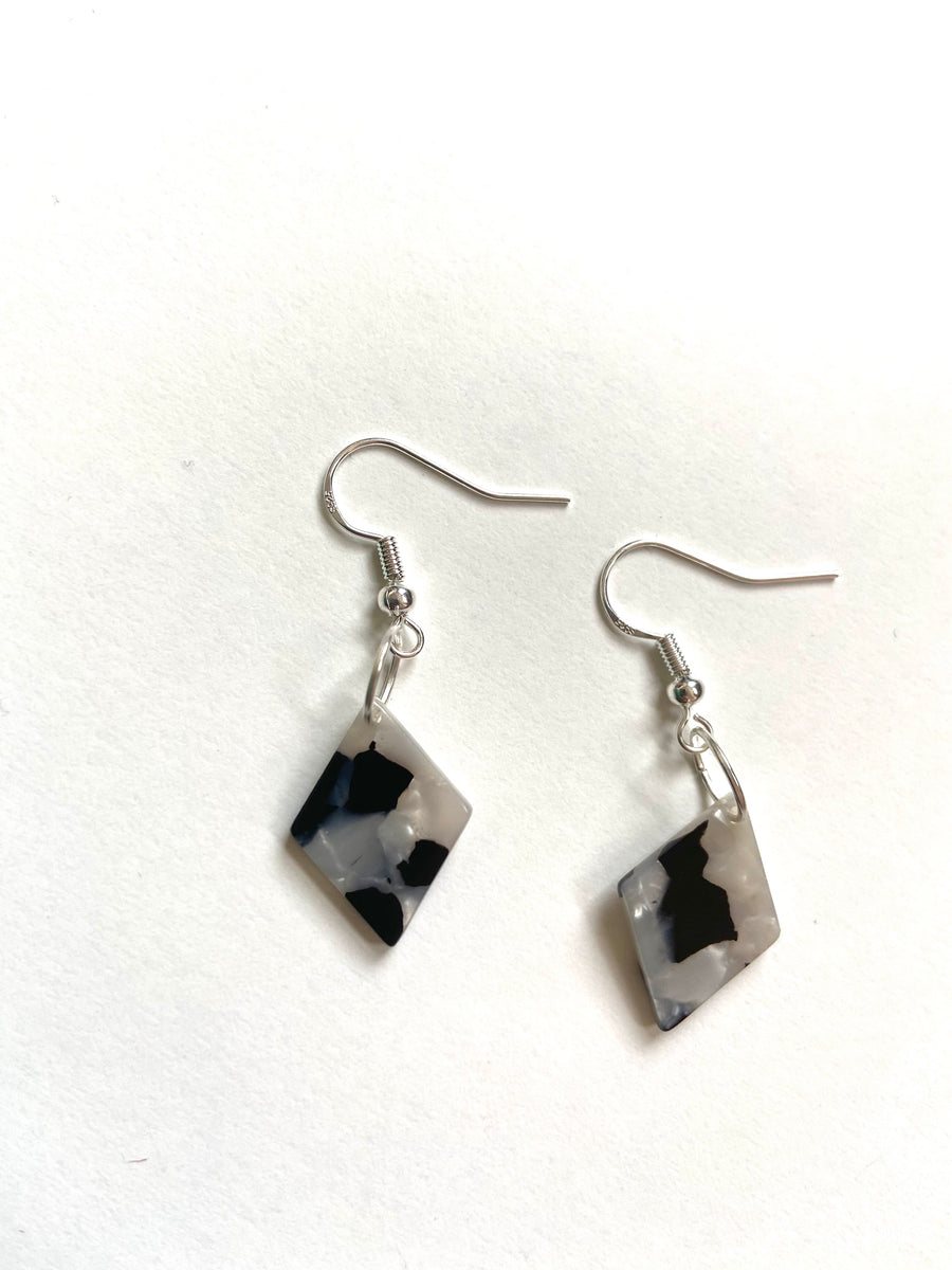 Diamond shaped charm earrings