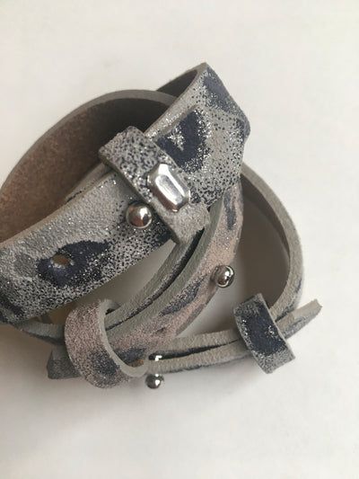 Grey and navy with silver spray wide leatherette bracelet