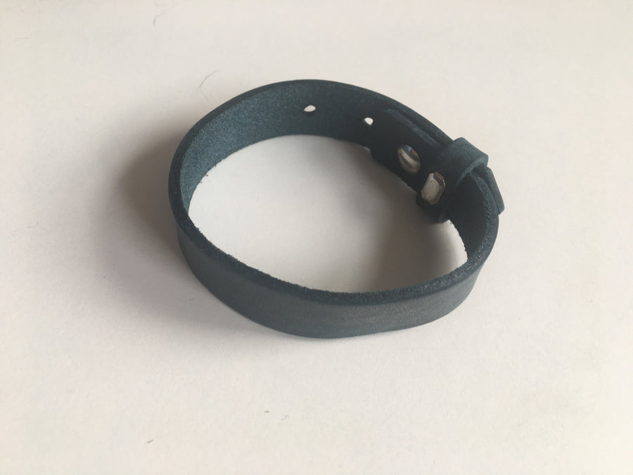 Blue wide leatherette bracelet