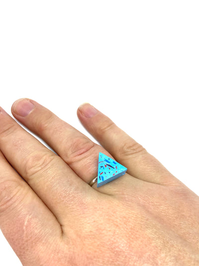Sky blue vivid jesomite triangle ring