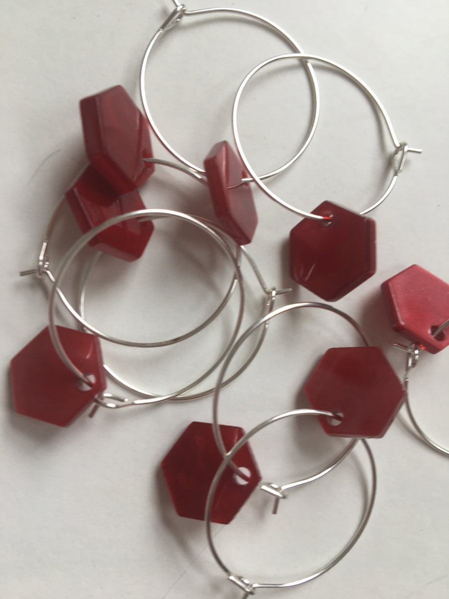 Red hexagon hoops