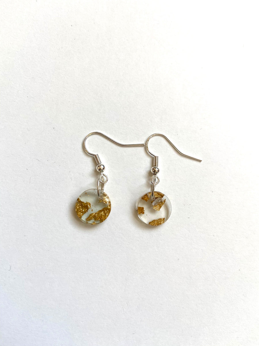 Gold fleck clear charm earrings
