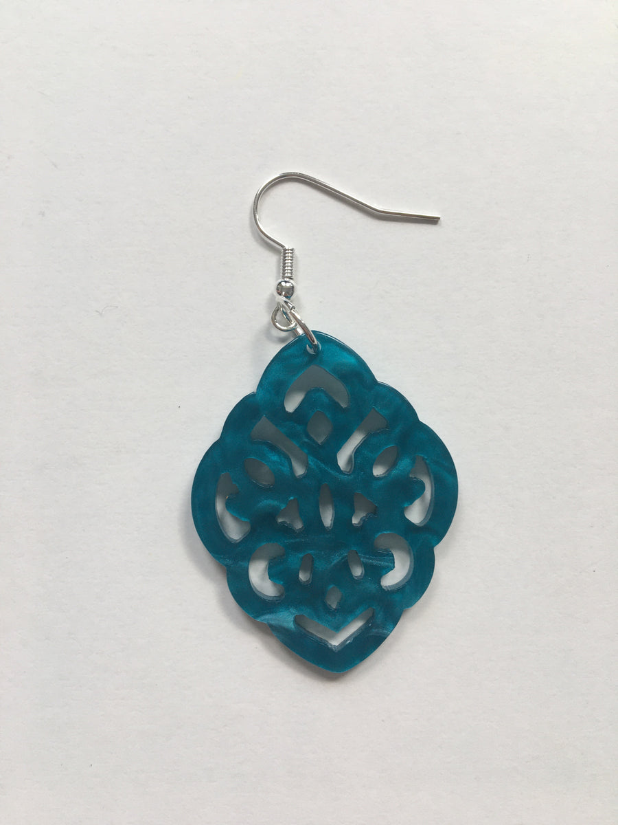 Blue resin shaped earrings