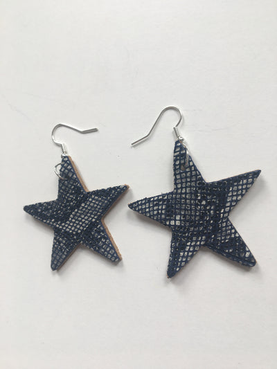 Snakeskin star shaped earrings