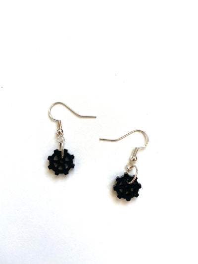 Black cog earrings