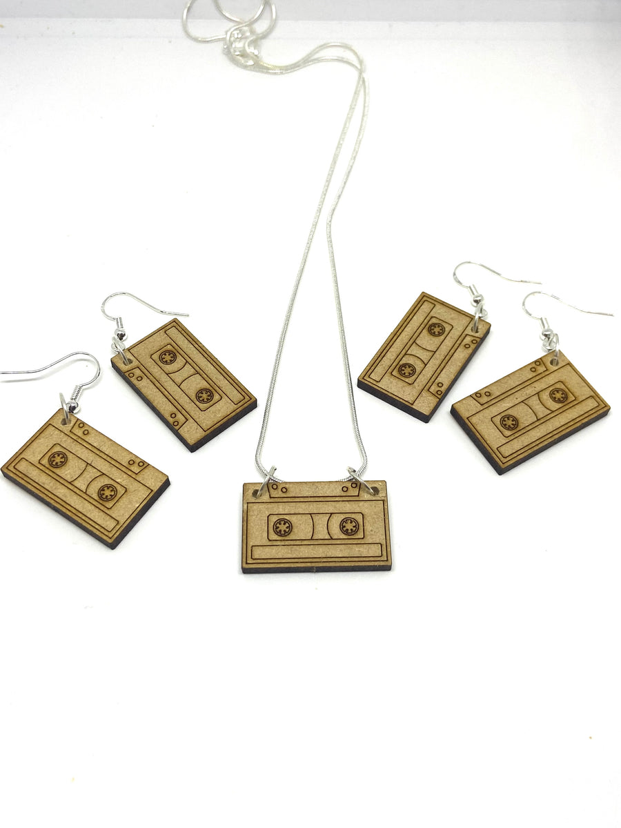 Wood cassette earrings
