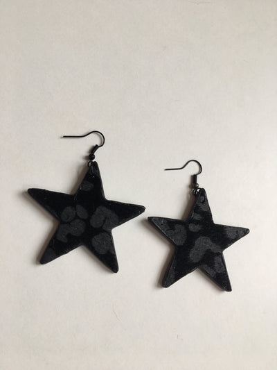 Black and grey animal print star earrings
