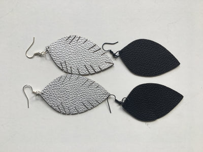 Silver leatherette leaf earrings