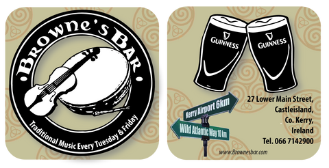 Browns Bar beer mat. Art-customized Richard Nolan Graphic design illustration digital art castleisland kerry