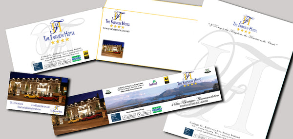 fairview Hotel Stationary suite Art-customized Richard Nolan Graphic design illustration digital art castleisland kerry
