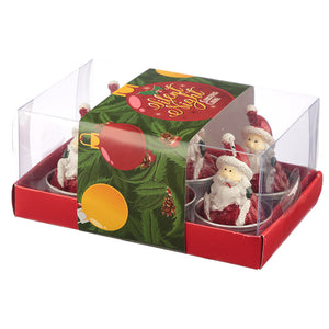 Christmas Tea Light Candle Set of 6 - Santa