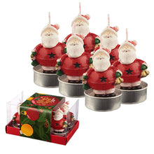 Load image into Gallery viewer, Christmas Tea Light Candle Set of 6 - Jingle Bells Santa