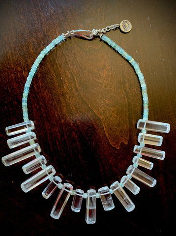 'Bring Back Balance' Quartz and Aquamarine Necklace