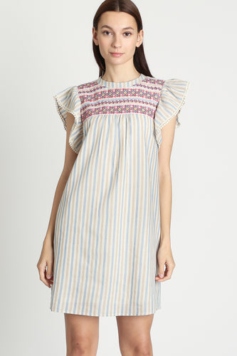 cute embroidered comfort dress multicolored striped