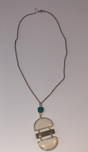 long white gold necklace turquoise
