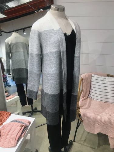 Gray Stripped Cardigan