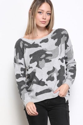 Army Print Sweater -Grey