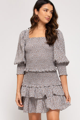 Aria Puff Sleeve Woven Dress