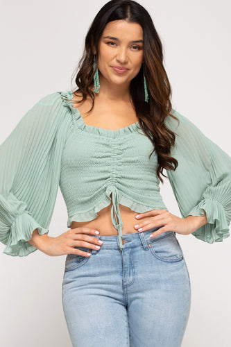 Kate Off the Shoulder Pleated Top