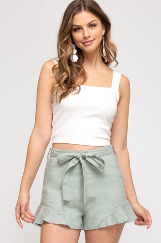 Layla Woven Shorts with Waist Sash