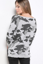 Load image into Gallery viewer, Army Print Sweater -Grey
