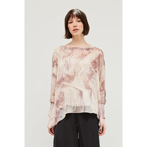 Chantal Chiffon Smoked Cuff Blouse