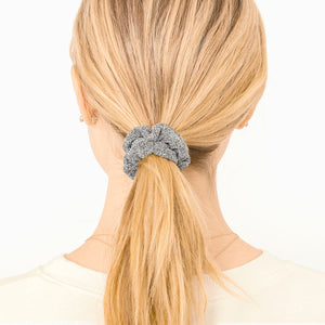 hair tie pony tail black grey silver