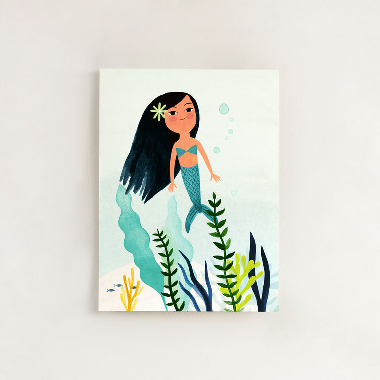 Mermaid gouache painting