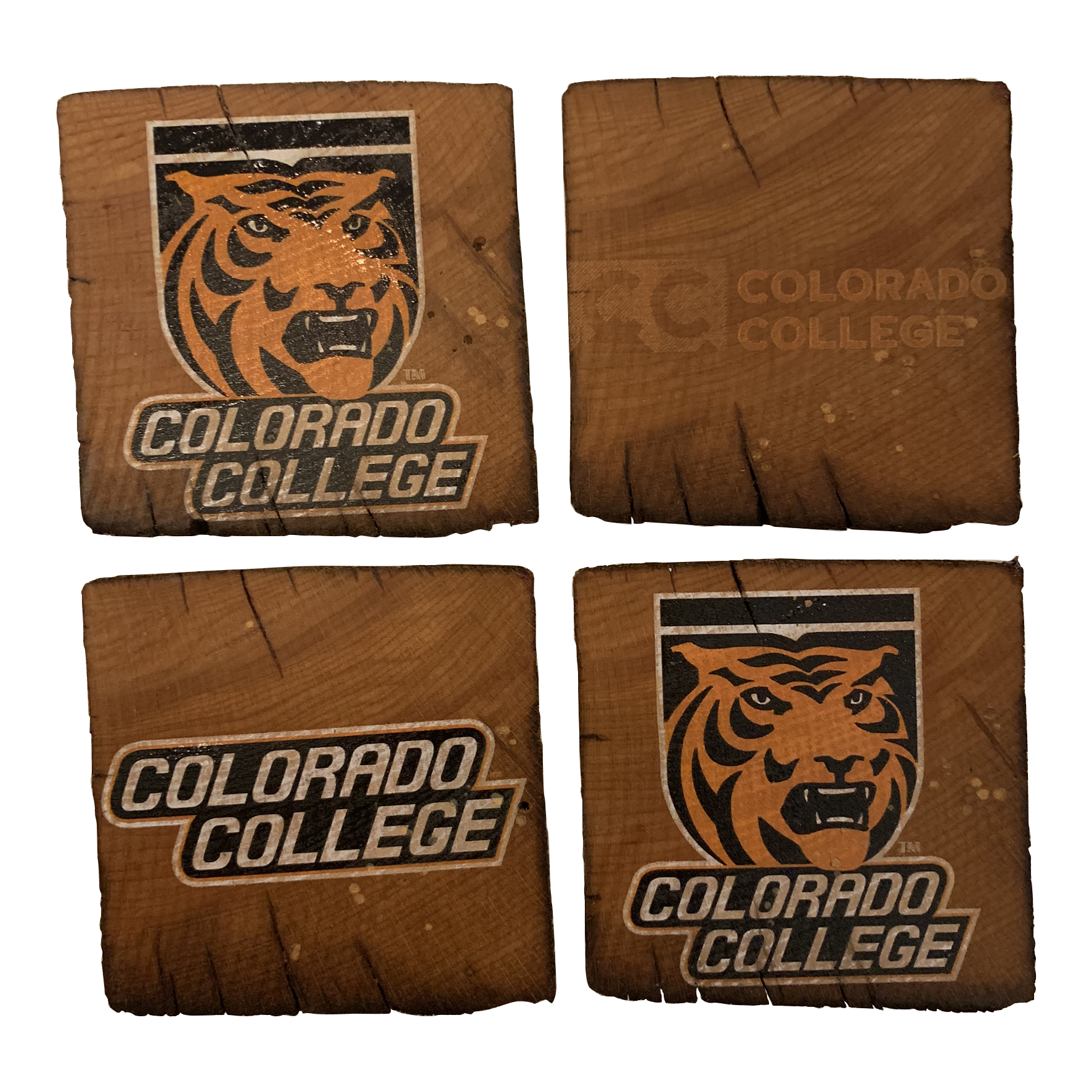 COLORADO COLLEGE Reclaimed Barn Beam Coaster Set