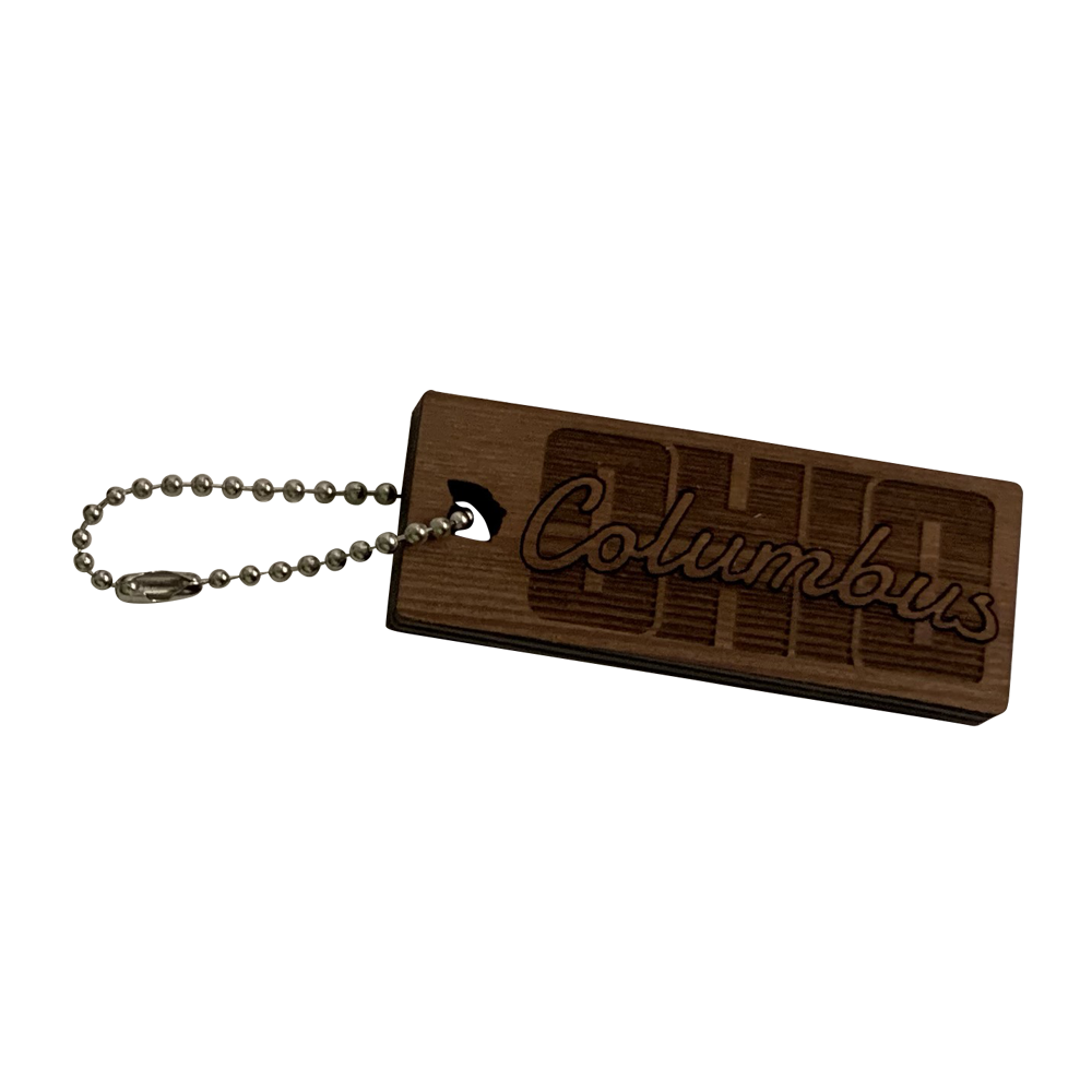 Columbus Ohio Reclaimed Redwood Keychain