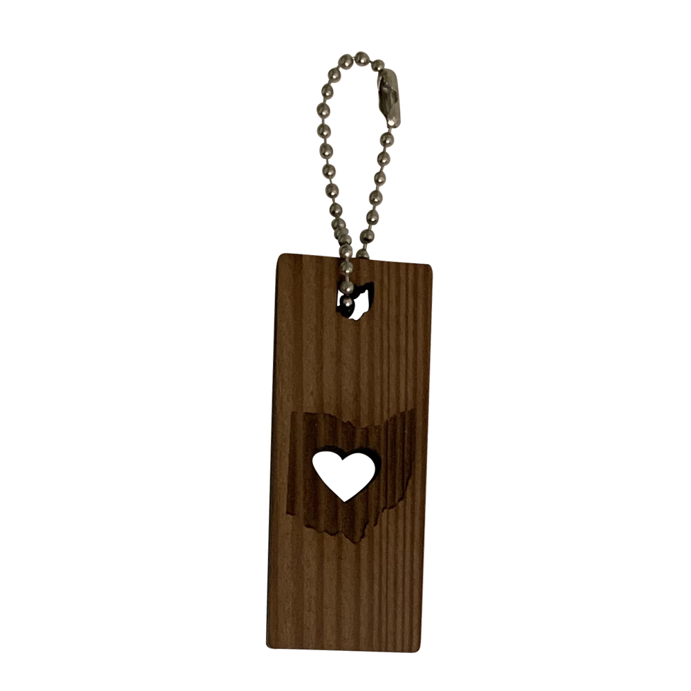 Heart Ohio Reclaimed Redwood Keychain