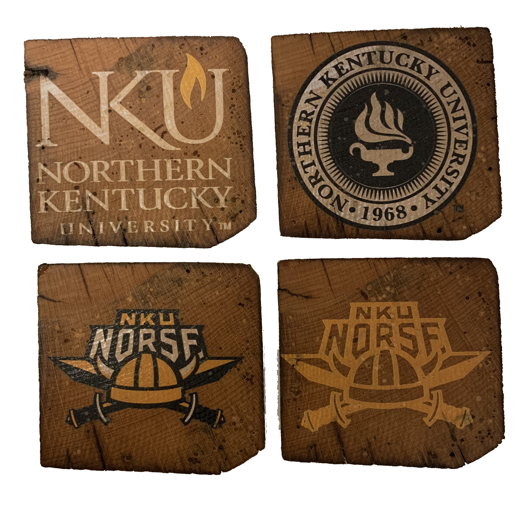 NORTHERN KENTUCKY UNIVERSITY Reclaimed Barn Beam Coaster Set