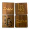 CALIFORNIA STATE UNIVERSITY, LONG BEACH Walnut Coaster Set