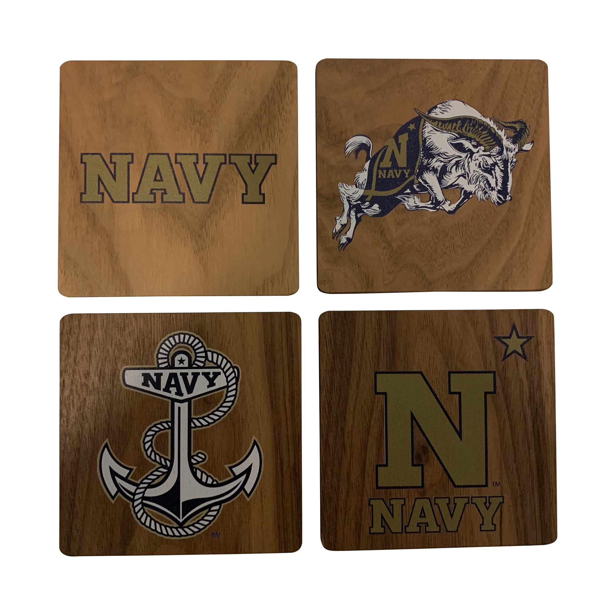 US NAVAL ACADEMY Walnut Coaster Set