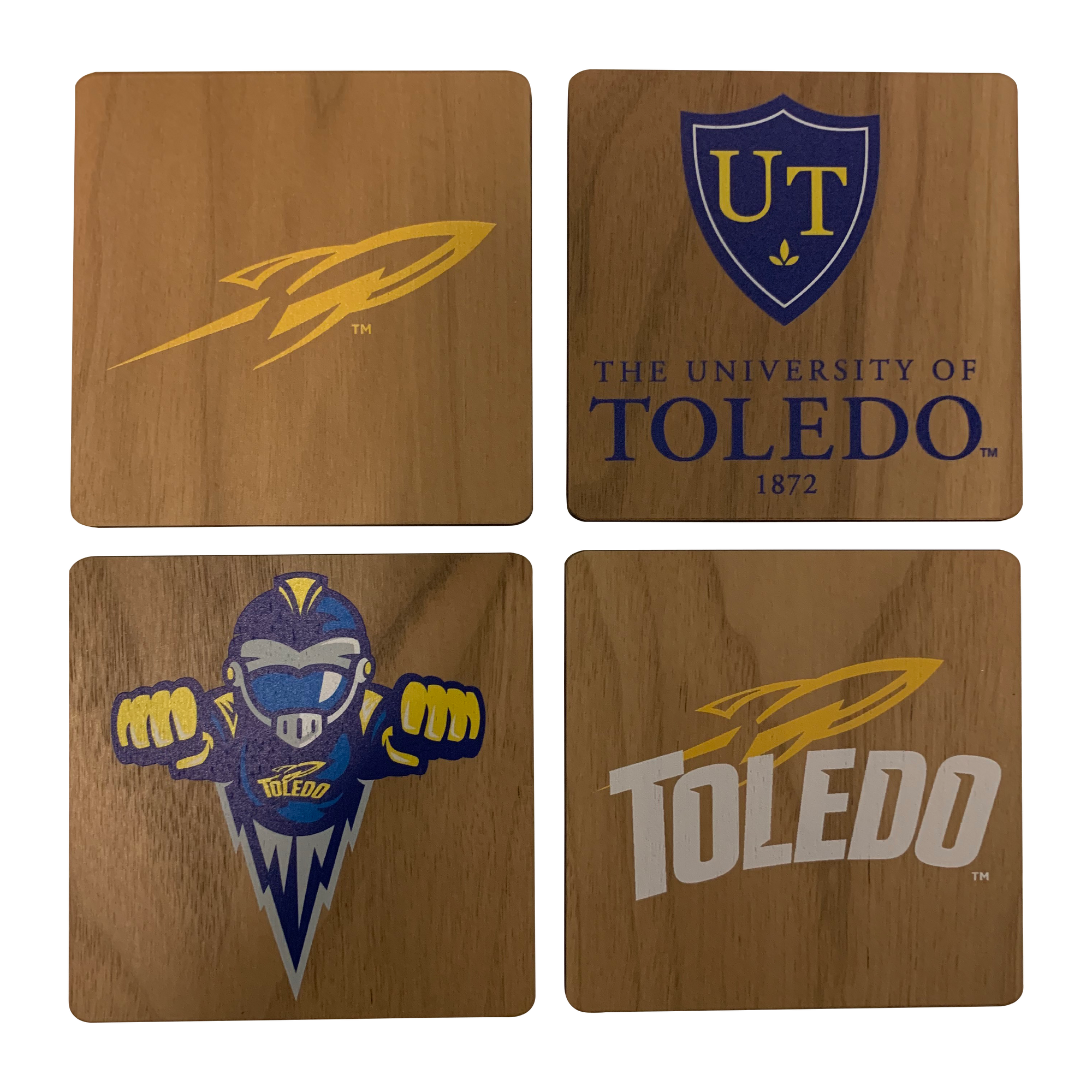 UNIVERSITY OF TOLEDO Walnut Coaster Set