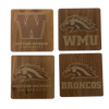 WESTERN MICHIGAN UNIVERSITY Walnut Coaster Set