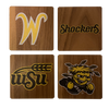 WICHITA STATE UNIVERSITY Walnut Coaster Set