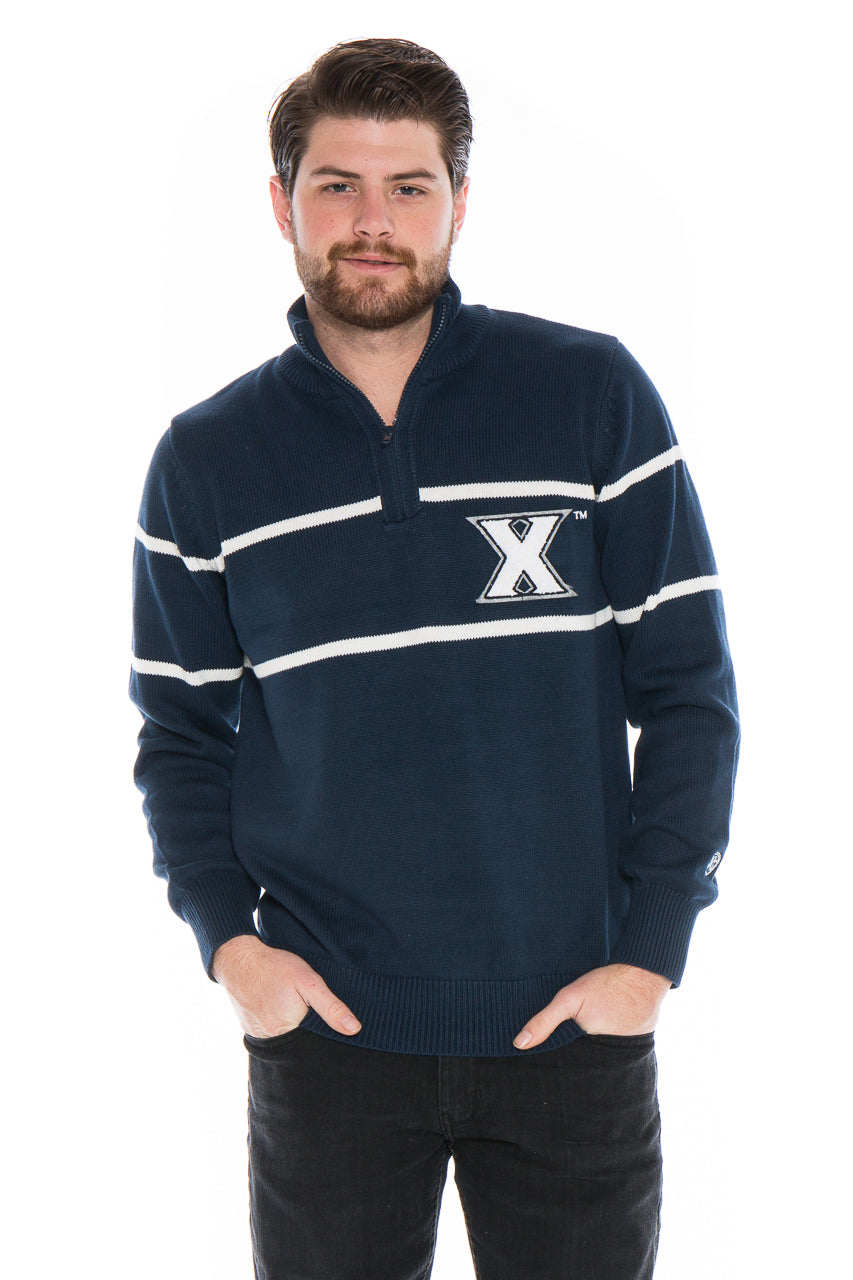 XAVIER UNIVERSITY Men's Mock Ribbed Quarter Zip
